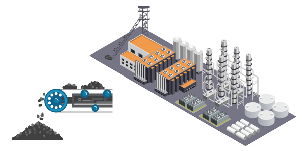 charfuel hydrogen plant [vector graphic]